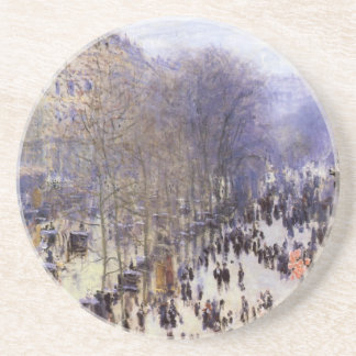 Boulevard des Capucines by Claude Monet, Fine Art Sandstone Coaster