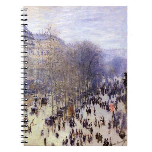 Boulevard des Capucines by Claude Monet, Fine Art Spiral Notebook