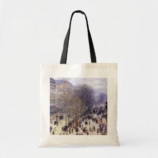 Boulevard des Capucines, Monet, Vintage Fine Art Budget Tote Bag