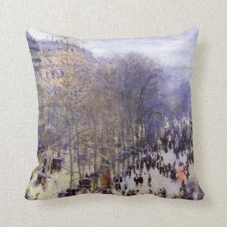 Boulevard des Capucines Monet Vintage Fine Art Throw Pillows