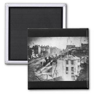 Boulevard du Temple, by Daguerre, historic photo 2 Inch Square Magnet
