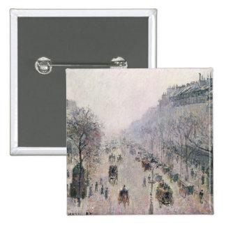 Boulevard Montmartre, 1897 (oil on canvas) Pinback Button