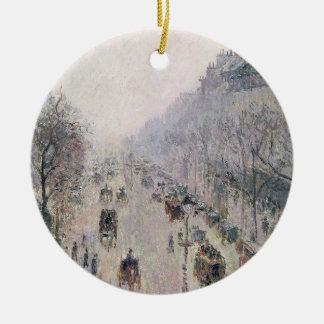 Boulevard Montmartre, 1897 (oil on canvas) Ceramic Ornament