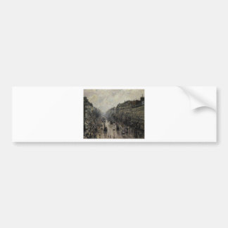 Boulevard Montmartre Foggy Morning by Camille... Car Bumper Sticker