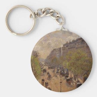 Boulevard Montmartre, Spring by Camille Pissarro Keychain