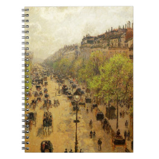 Boulevard Montmartre Spring by Camille Pissarro Notebook