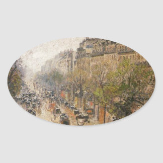 Boulevard Montmartre, Spring Rain by Camille Pissa Oval Sticker