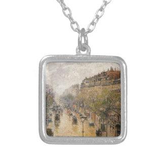 Boulevard Montmartre Spring Rain Camille Pissarro Square Pendant Necklace