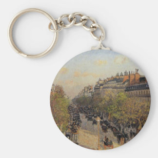 Boulevard Montmartre, Sunset by Camille Pissarro Keychain
