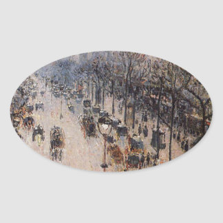 Boulevard Montmartre Winter Morning by Camille Oval Sticker