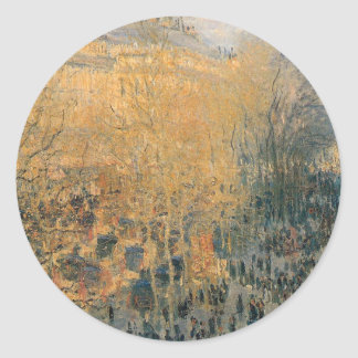 Boulevard of Capucines by Claude Monet Classic Round Sticker