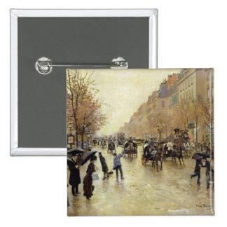 Boulevard Poissonniere in the Rain, c.1885 Button