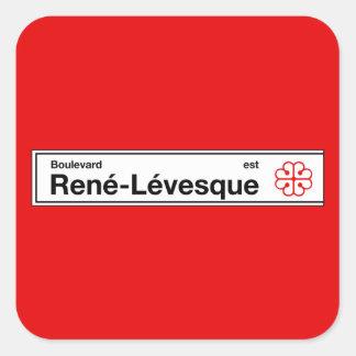 Boulevard Rene-Levesque, Montreal Street Sign Square Sticker