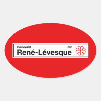 Boulevard Rene-Levesque, Montreal Street Sign Oval Sticker