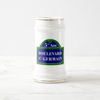 Boulevard Saint-Germain, Paris Street Sign 18 Oz Beer Stein