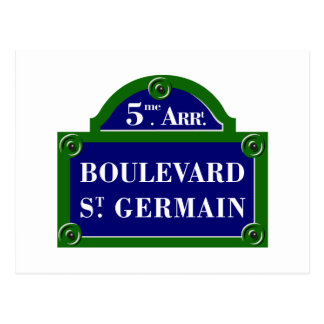 Boulevard Saint-Germain, Paris Street Sign Postcard