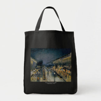 Boulevarde Montmartre at Night  ~ Camille Pissarro Tote Bag