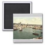 Boulogne, from west pier, France rare Photochrom Fridge Magnet