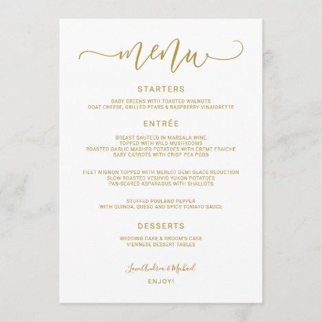 Bounce Calligraphy Swirly (Flat Gold) Wedding Menu
