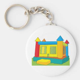 Bounce Castle Basic Round Button Keychain