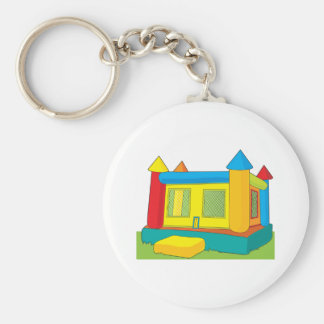Bounce Castle Basic Round Button Keychain