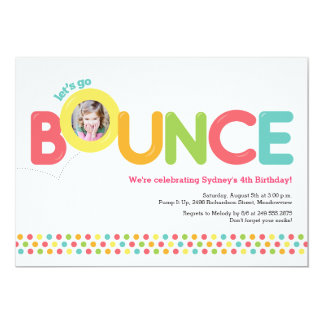 Bounce House Birthday Invitation Photo Card Pink