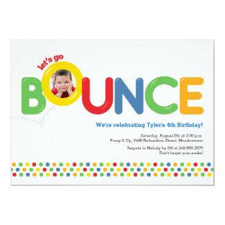Bounce House Birthday Invitation Photo Card Primar