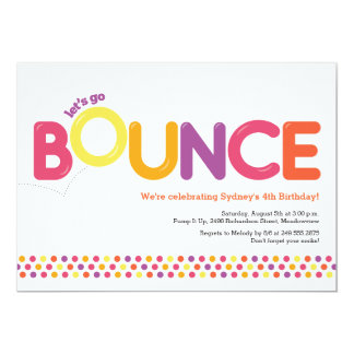Bounce House Birthday Invitation Pink & Orange