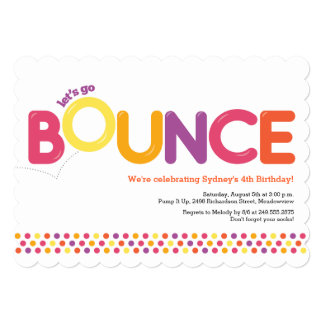 Bounce House Birthday Invitation Pink & Orange Announcements