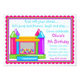 Bounce House Birthday Invitations- Girl Colors Card