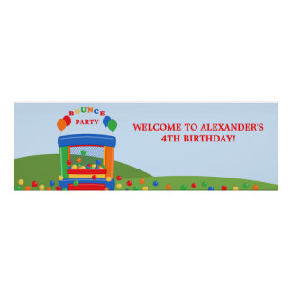 Bounce House Birthday Party Banner Poster