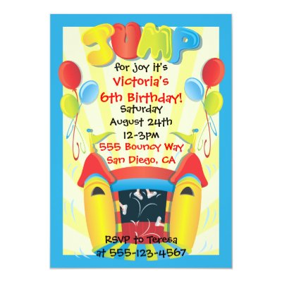 Fun bounce house girls birthday party invitation Zazzlecom