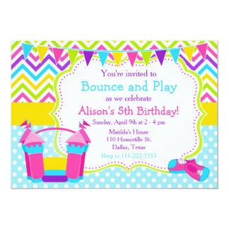 Bounce House Bouncy Castle Birthday Pink Card