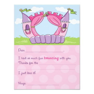 Bounce House Fill-In Thank You Card : Princess