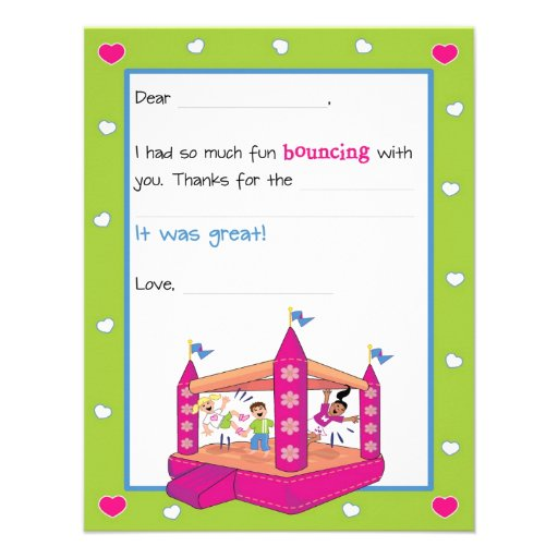Bounce House Fill-in-the-Blank Thank You Cards Custom Invitation