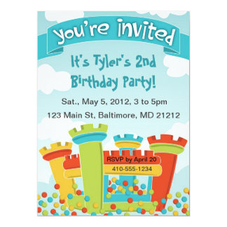 "Bounce House Party Invitation 6.5"" X 8.75"" Invitation Card"