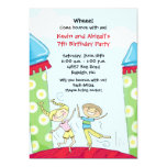 """Bounce House Party Invitations Green Boy and Girl 5"""" X 7"""" Invitation Card"""