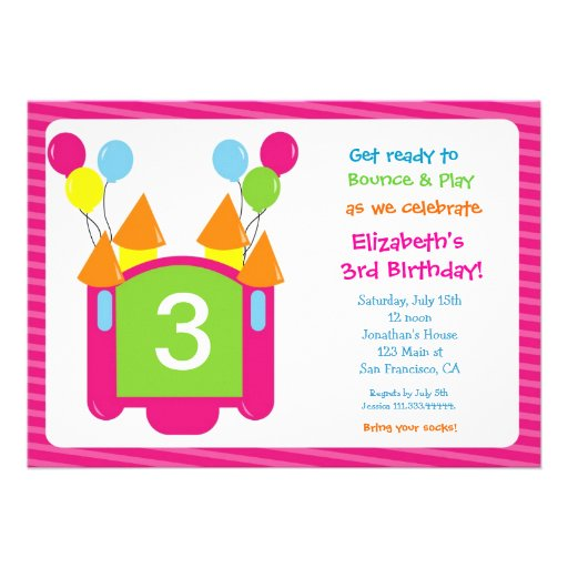 Bounce House Photo Birthday Invitation for girl