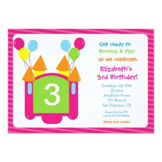 "Bounce House Photo Birthday Invitation for girl 5"" X 7"" Invitation Card"