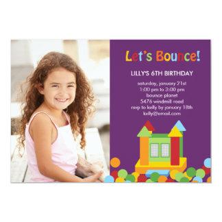 "Bounce House Photo Birthday Invitation - Purple 5"" X 7"" Invitation Card"