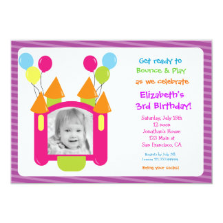 """Bounce House Photo Birthday Invitations 5"""" X 7"""" Invitation Card"""