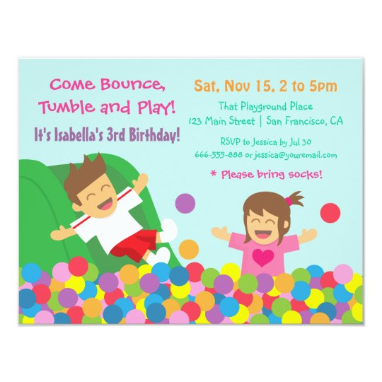 bounce play gym kids birthday party invitations. Black Bedroom Furniture Sets. Home Design Ideas