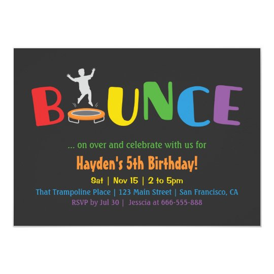 Trampoline Party Invitations: Bounce Trampoline Kids Birthday Party Invitations