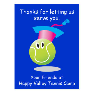 Bouncee™ smiling tennis ball sign-up reminder postcard