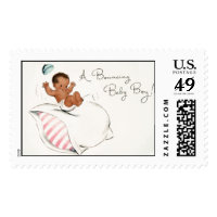 Bouncing Baby (African American) by Loralee Lewis Postage Stamp