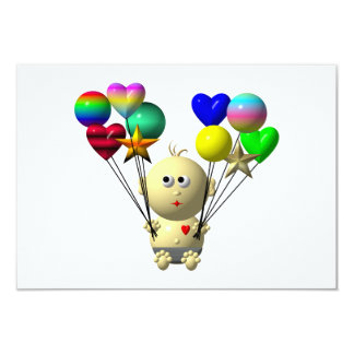 BOUNCING BABY BOY WITH 10 BALLOONS CARD