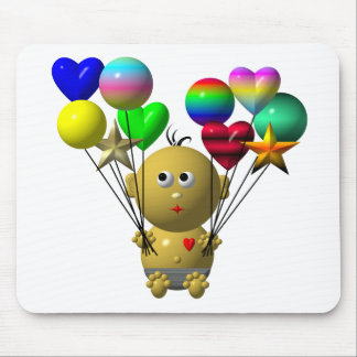 BOUNCING BABY BOY WITH 10 BALLOONS MOUSE PAD