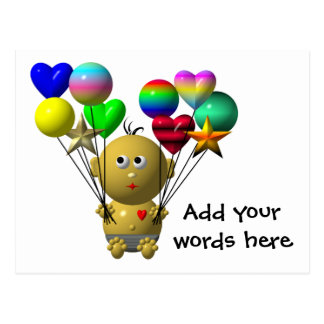 BOUNCING BABY BOY WITH 10 BALLOONS POSTCARD
