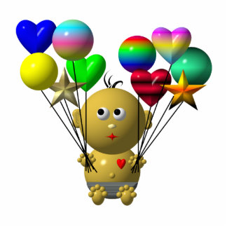 BOUNCING BABY BOY WITH 10 BALLOONS STATUETTE