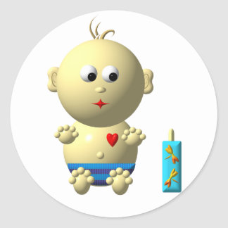 BOUNCING BABY BOY WITH 1 BOTTLE CLASSIC ROUND STICKER